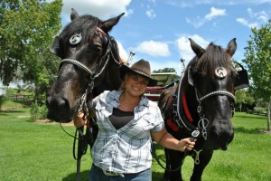 Kimmie with Duke and Doc Horse Country Carriage Co Tours